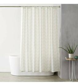 AmazonBasics Shower Curtain with Hooks, 72-Inch, Natural Her