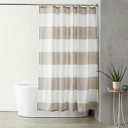 AmazonBasics Shower Curtain with Hooks - 72 x 72 inches, Gra