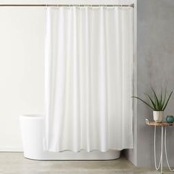 AmazonBasics Shower Curtain with Hooks - 72 x 72 inches, Whi