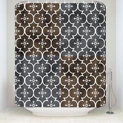 EZON-CH Shower Curtains Vintage Geometric Pattern Brown Prin