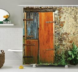 Ambesonne Shutters Decor Shower Curtain Set By, Old Fashion
