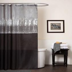 Silver Black shower curtain Gray shimmer bathroom home decor