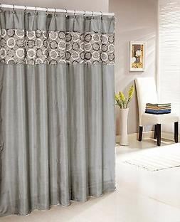 """Silver Gray Faux Silk Shower Curtain with 14"""" Textured and C"""
