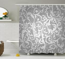 Ambesonne Silver Shower Curtain Set, Victorian Style Large L