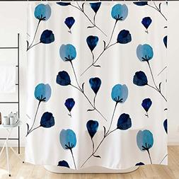 Simple Small Blue Flower Shower Curtain with Hooks 71''x71''