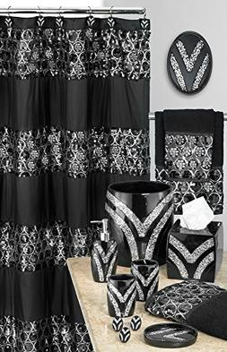Popular Bath Sinatra Sequin Shower Curtain, Black, 70x72 Inc
