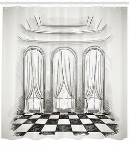 Sketch Shower Curtain Castle Baroque Curtains Print for Bath