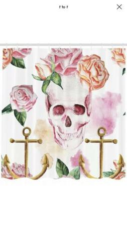 Skull Nautical Anchor Flowers Roses Peonies Vintage Art  Sho