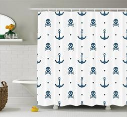 Ambesonne Skull Shower Curtain Anchor Decor, Anchors and Ske