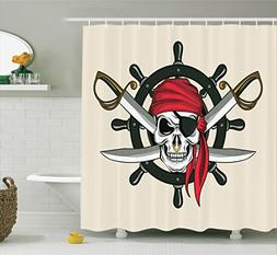 Ambesonne Skulls Decorations Collection, Pirate Skull with S