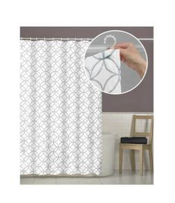 Maytex Smart Curtains Fabric Shower Curtain Attached Hooks T
