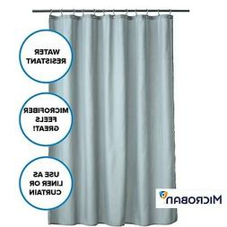 Soft, Gray Microfiber Fabric Shower Curtain Liner with Micro