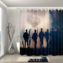 Soldiers line up home Shower Curtain Bathroom Decor Fabric &