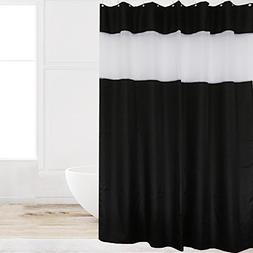 Eforcurtain Extra Long 72x78Inch Black with White Oarganza S
