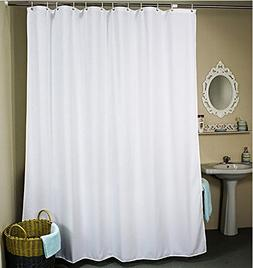 Ufelicity Solid White Shower Curtain Polyester Heavy Duty, 4