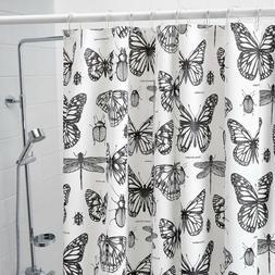 Ikea SOMMARMALVA Shower Curtain White Gray Butterfly Water-R