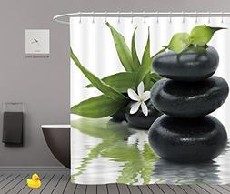 Spa Arrangement Black Stones And Bamboo Leafs In The Water B