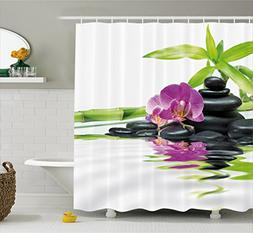 Ambesonne Spa Decor Shower Curtain, Asian Relaxation with Ze