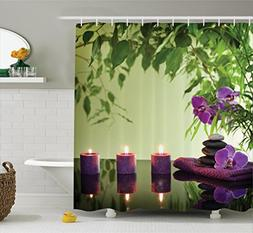 Ambesonne Spa Decor Shower Curtain Set, Zen Stones Aromatic