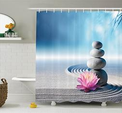 Ambesonne Spa Decor Shower Curtain Set, Stones And Lotus Flo