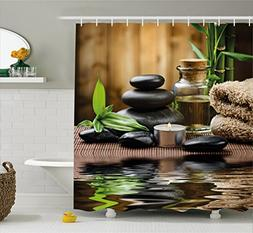 Ambesonne Spa Shower Curtain, Asian Zen Massage Stone Triple