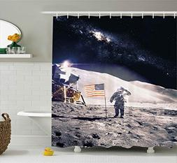 Ambesonne Space Shower Curtain, Astronaut on Moon with Ameri