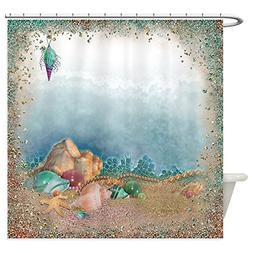 CafePress Sparkly Beach And Shells Decorative Fabric Shower