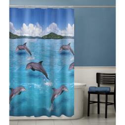 Maytex Splash Dolphin PEVA Vinyl Shower Curtain, Blue