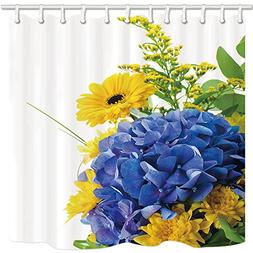 NYMB Spring Decor Shower Curtain, Blue Yellow Flower And Gre