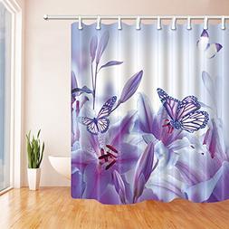 KOTOM Spring Purple Flowers Decor, Butterfly Flying on Lilie