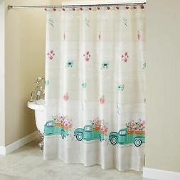 Spring Truck Shower Curtain with Vintage Truck Floral Print