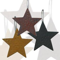 Star Shower Curtain Hooks, Set of 12, Choice of Burgundy, Bl