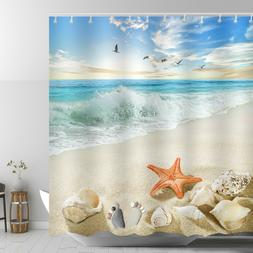 Beach Themed Shower Curtain Red Starfish Ankle Stone Sandy C