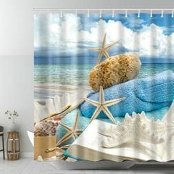 Starfish Beach Theme Shower Curtain SEASHELL Conch Shell Fabr Style1