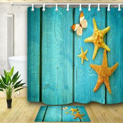 Starfish on Blue Wooden Board Home Decor Shower Curtain Tape