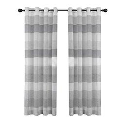 DEZENE Stripe Sheer Curtains for French Doors - 2 Panels - F