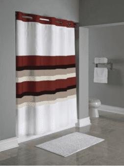 "Hookless Stripe Shower Curtain 71"" x 77"" Red, White, Multi-C"