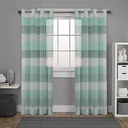 DEZENE Striped Sheer Curtains for French Doors - 2 Panels -