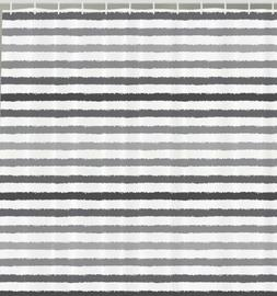 Ambesonne Striped Shower Curtain Set, Gray and White Stripes