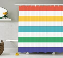 Ambesonne Striped Shower Curtain Set, Rainbow Colored and Wh