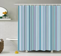 Ambesonne Striped Shower Curtain Set by, Blue Purple Teal Aq
