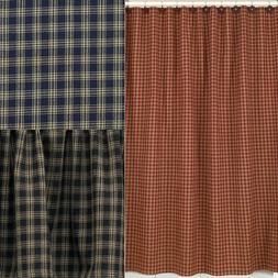 Sturbridge Plaid Cotton Shower Curtain 72x72 Wine, Black, Na