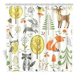 InterestPrint Summer Forest Pattern with Cute Woodland Anima