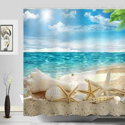 Sunshine Beach Starfish Shower Curtain Seashell Sandy Polyes