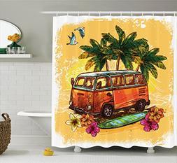 surf decor shower curtain set
