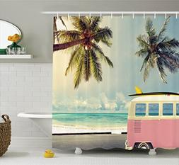 Ambesonne Surf Decor Shower Curtain Set, Minivan On The Beac
