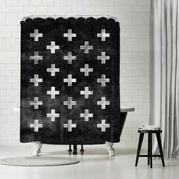 Americanflat 'Swiss Cross Pattern Black' Shower Curtain Blac