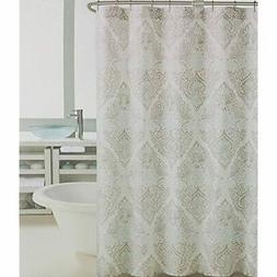 Tahari Fabric Shower Curtain Vintage Medallion Tan Turquoise
