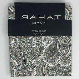 Tahari Luxury Cotton Blend Shower Curtain Gray Turquoise Tau