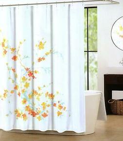 Tahari Luxury Cotton Blend Shower Curtain Printemps Orange Y